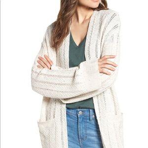 NWOT Hinge long tweed herringbone stitch cardigan